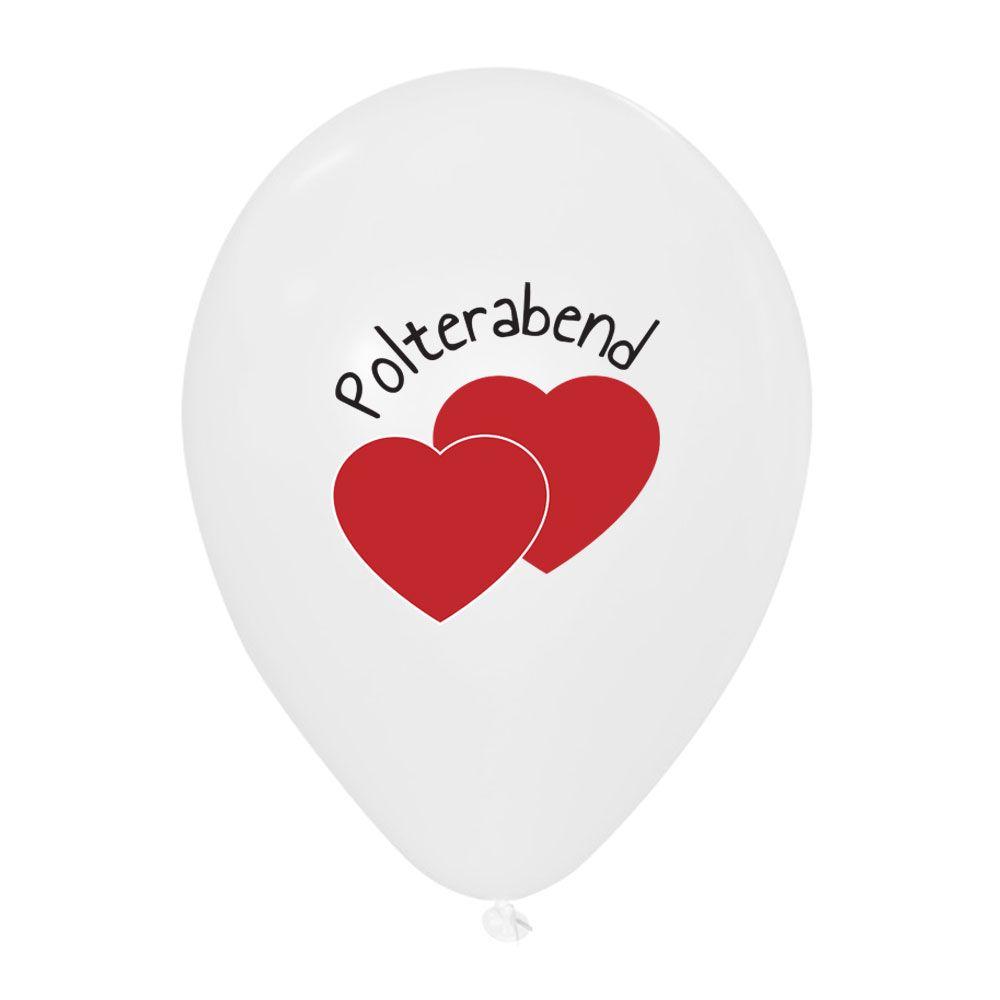 Weiße Polterabend Deko-Luftballons mit roten Herzen
