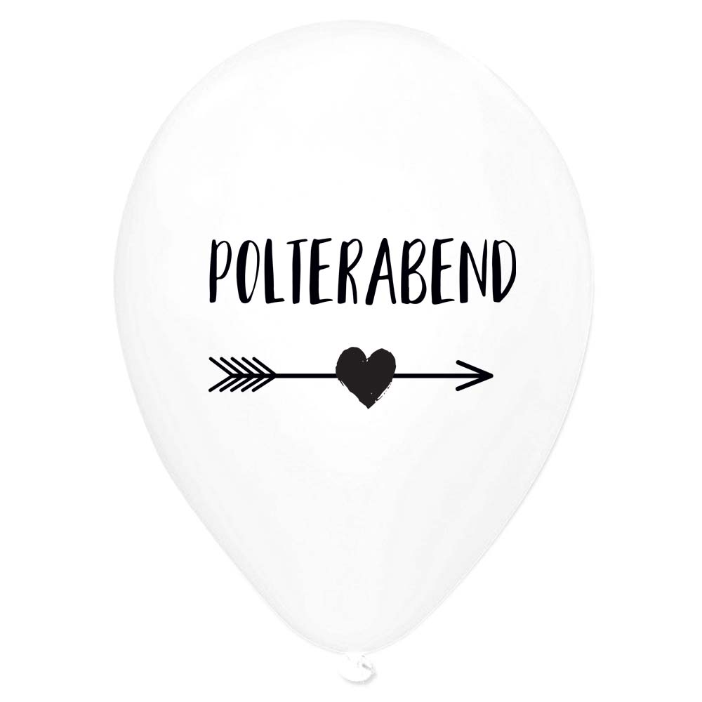 Polterabend-Deko-Luftballons - Pfeil-Motiv - Weiss
