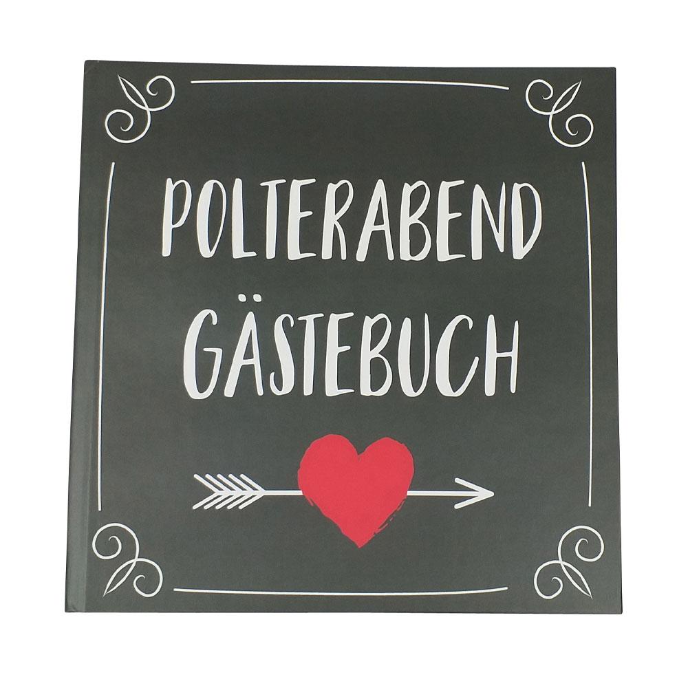 Originelles Polterabend-Gästebuch - Hardcover mit Herz-Pfeil-Motiv