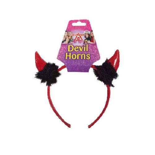 Rote Teufelshörner mit schwarzen Federn