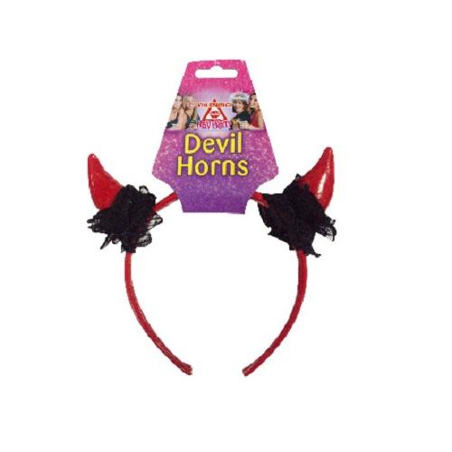 Rote Teufelshörner mit schwarzer Spitze