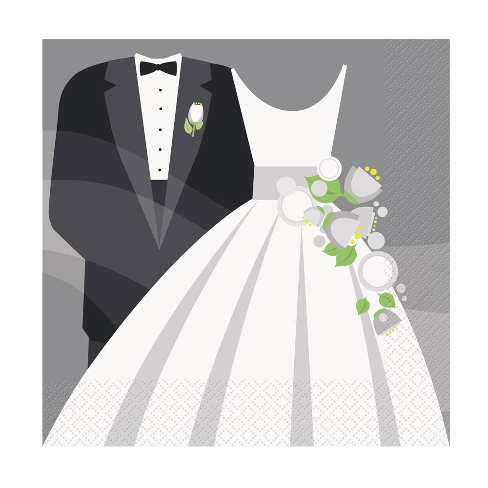 Papierservietten mit Brautpaar