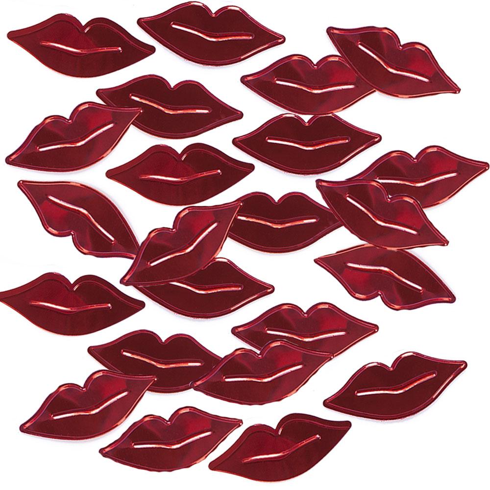 Streudeko aus metall-roten Kussmündern