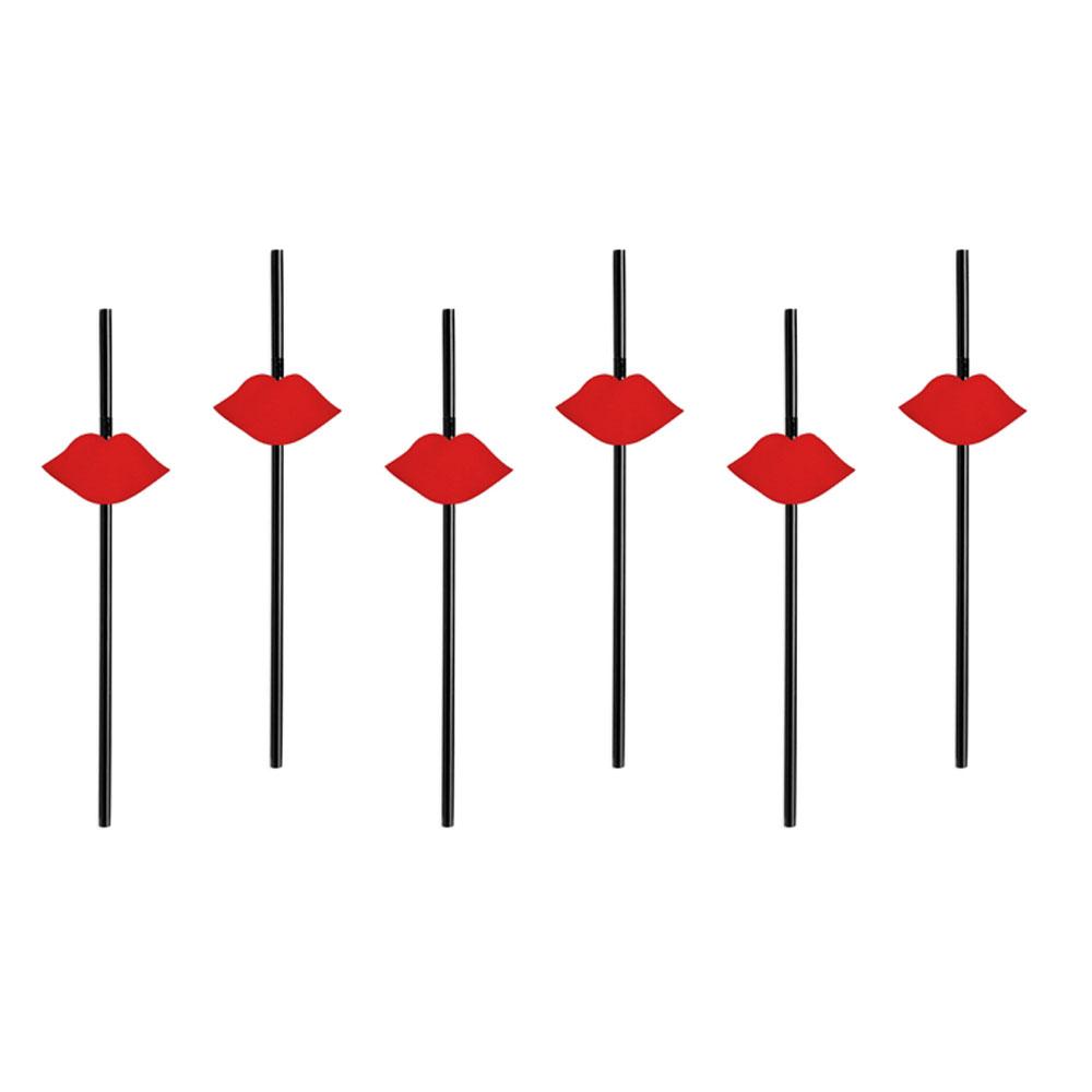 Schwarze Strohhalme mit roter Kussmund-Deko aus Papier