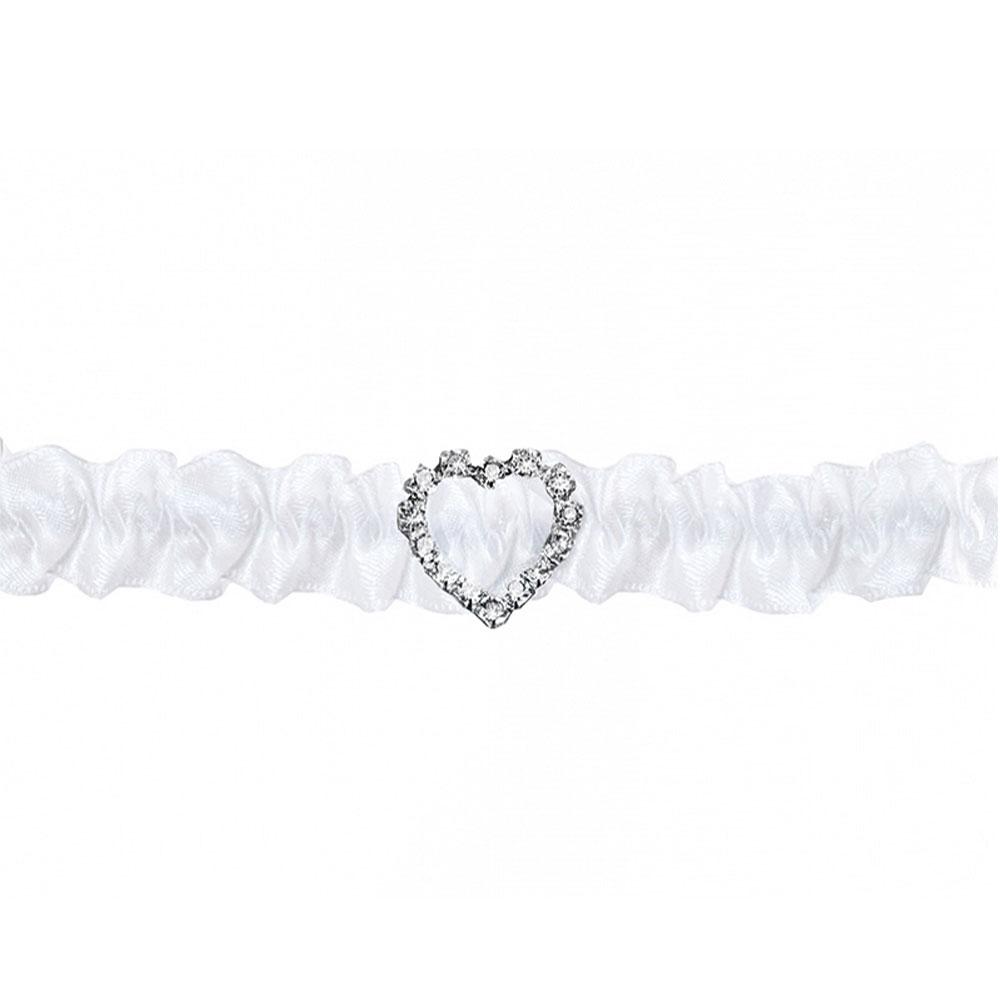 Weißes Strumpfband mit Herz aus Strasssteinen