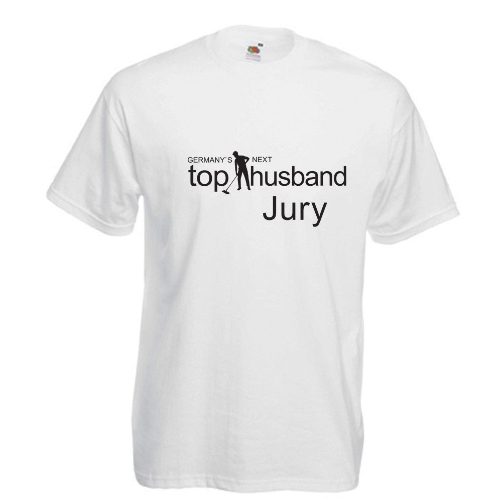 JGA-Shirt in Weiß mit Aufdruck Germany`s Next Top Husband - Jury
