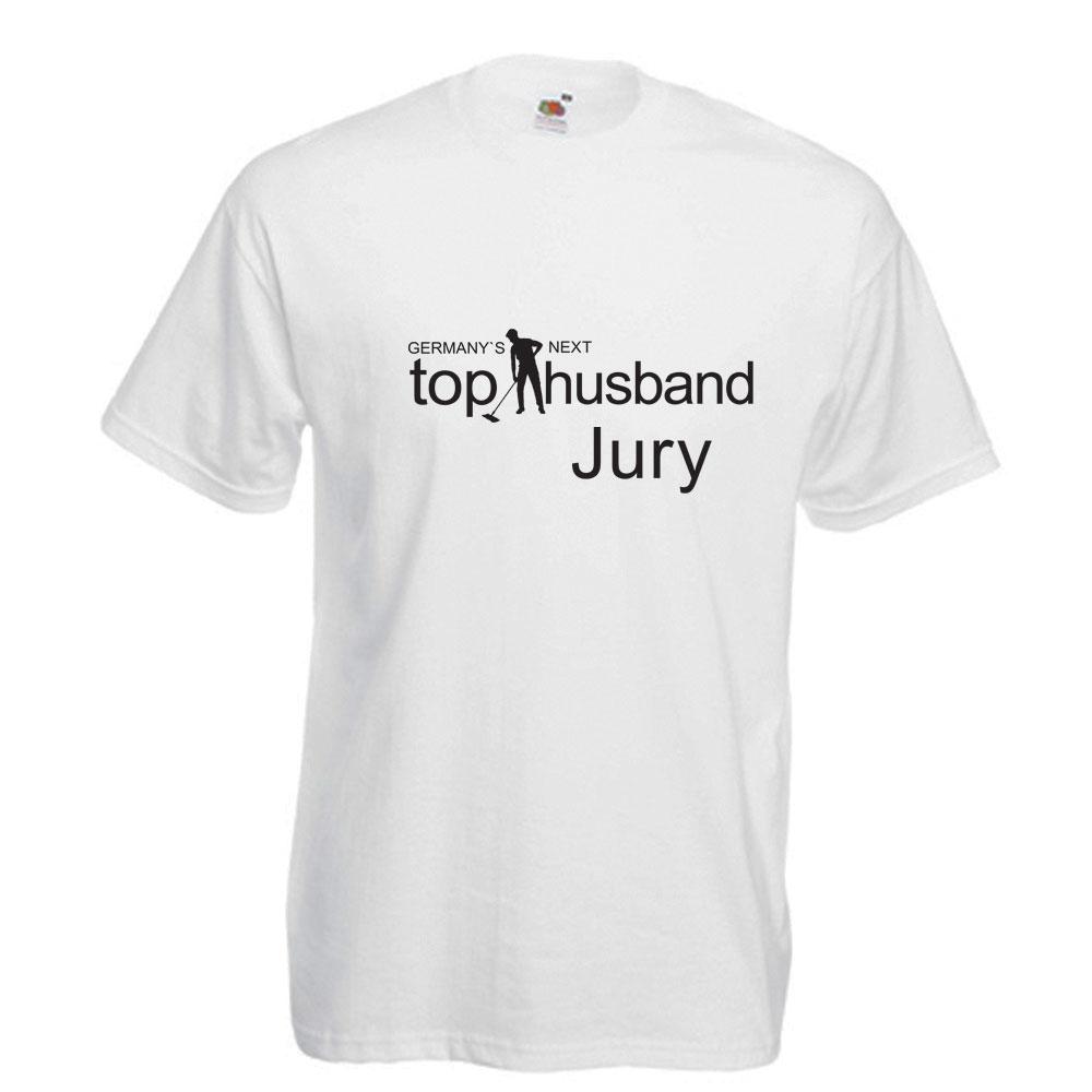 JGA-Shirt in Weiß mit Aufdruck Germany`s Next Top Husband - Jury