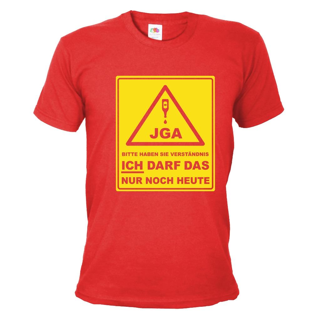 """T-Shirt """"JGA - Bitte haben Sie Verständnis"""" - Bräutigam - Rot"""