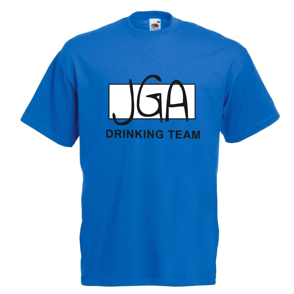 Blaues Männer T-Shirt mit JGA Drinking Team Motiv