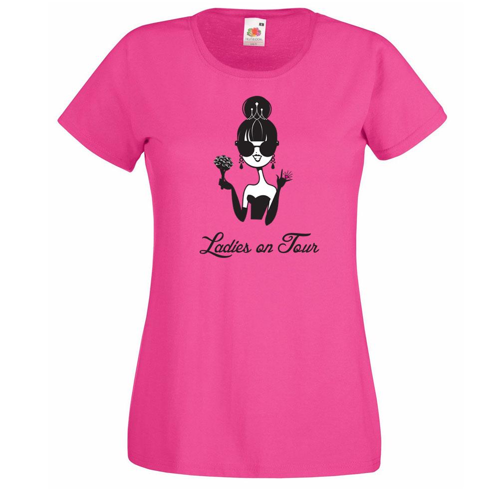 Pinkfarbenes T-Shirt mit Aufdruck für den Junggesellinnenabschied