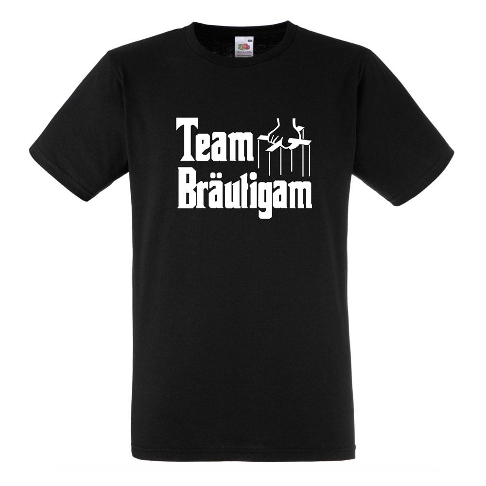 Schwarzes JGA-Shirt mit Team Bräutigam-Motiv