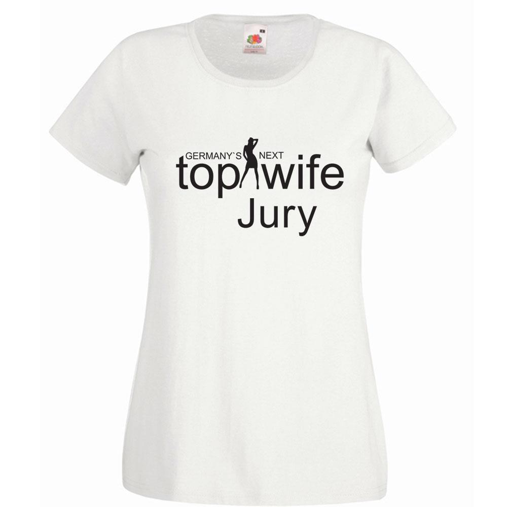 """T-Shirt in Weiß mit Aufdruck """"Germany`s Next Top Wife - Jury"""""""