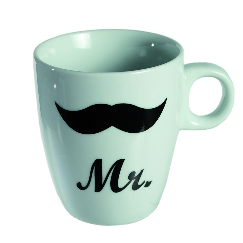 Porzellan-Kaffeebecher mit Aufdruck Mr und Schnurrbart