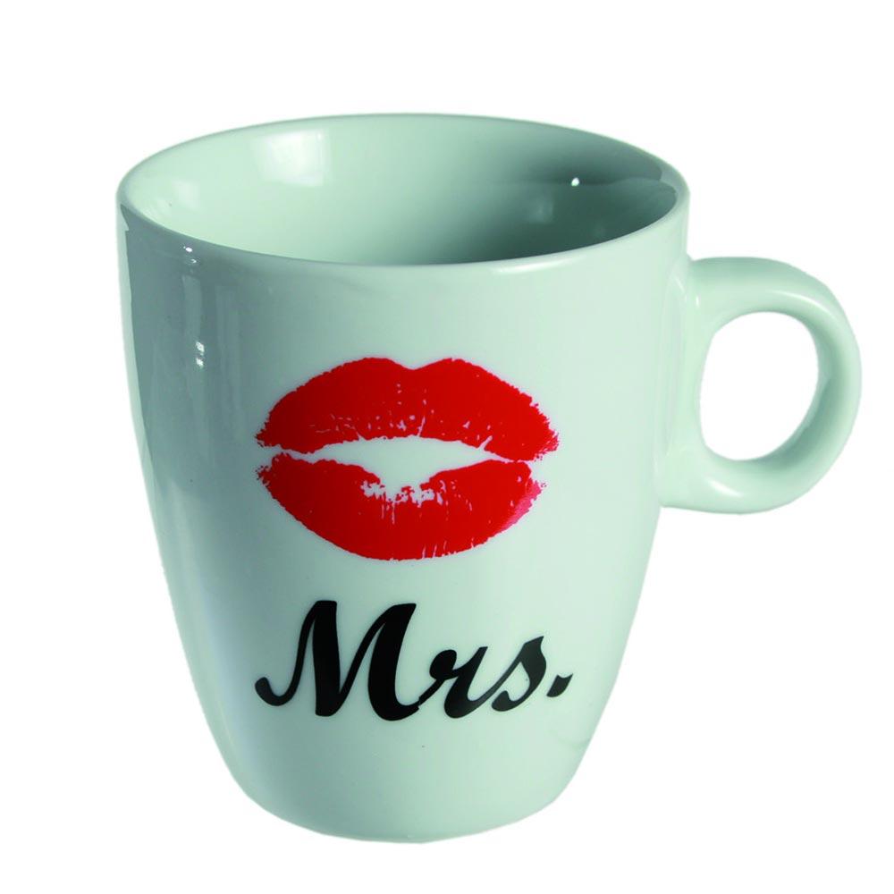 Porzellan Kaffebecher mit Aufdruck Mrs und Kussmund