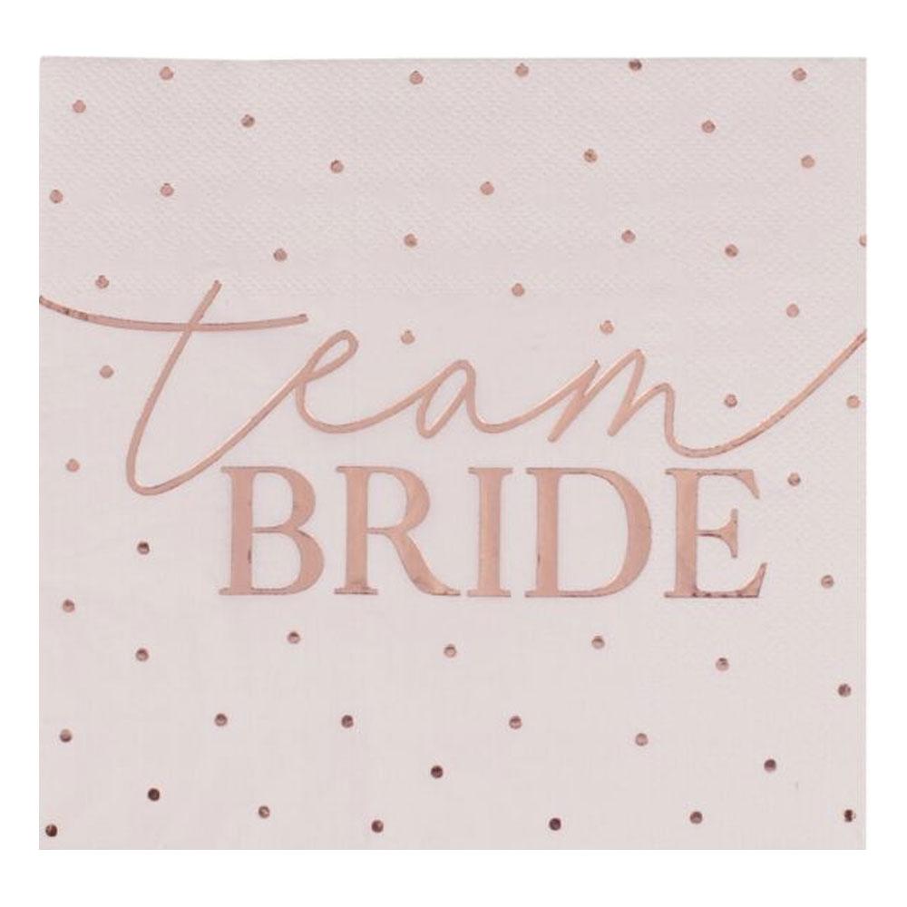 Junggesellenabschied - Servietten in Rose-Gold mit Team Bride-Aufdruck