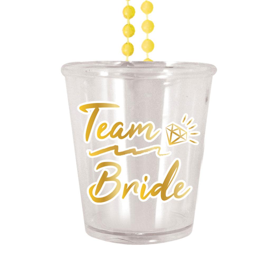 JGA-Shotglas zum Umhängen mit Team Bride-Aufdruck