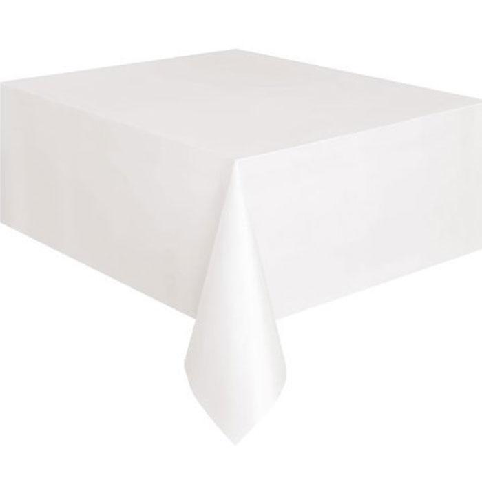 Weiße Plastik-Tischdecke