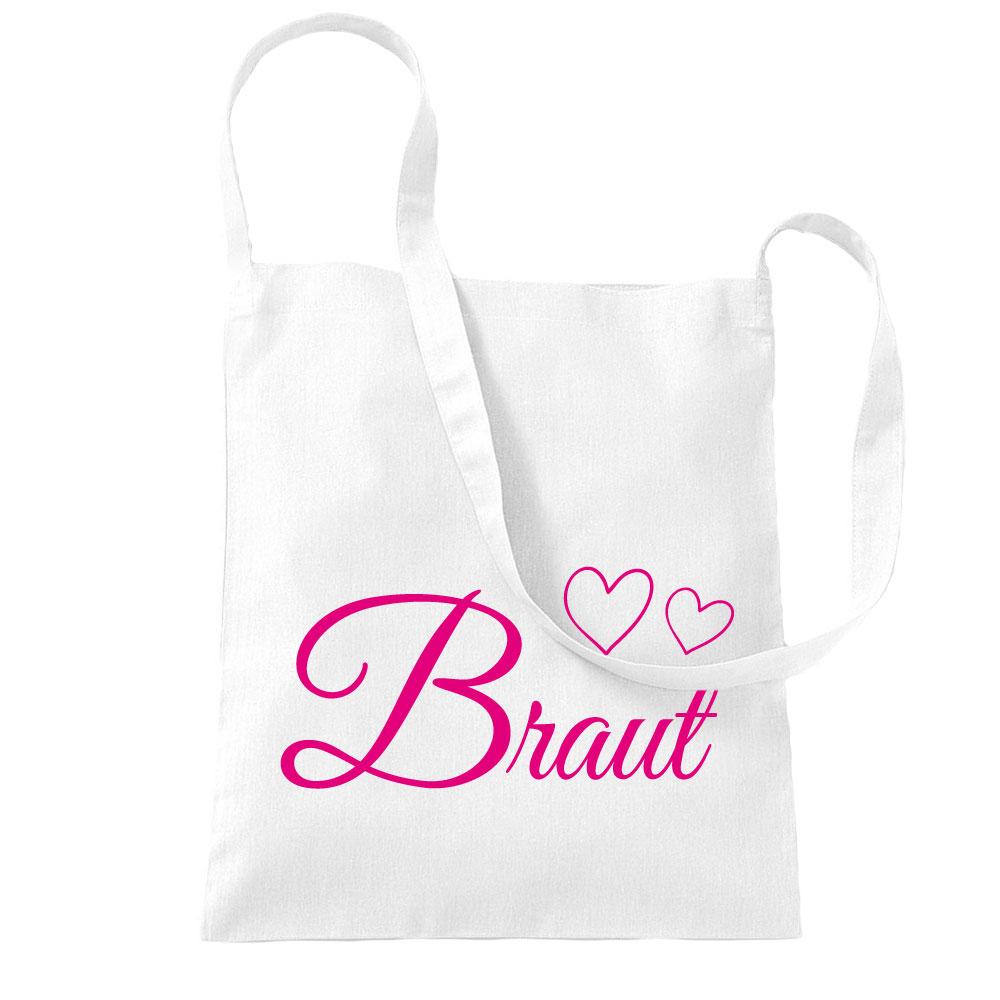 Weisse Umhängetasche mit Braut-Schriftzug und Herzen