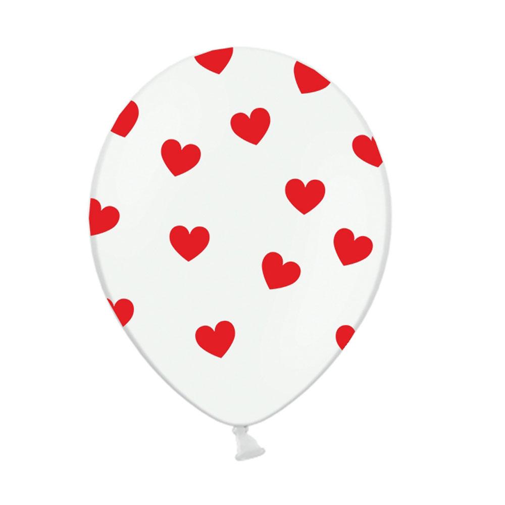 Weißer Luftballon mit roten Herzen