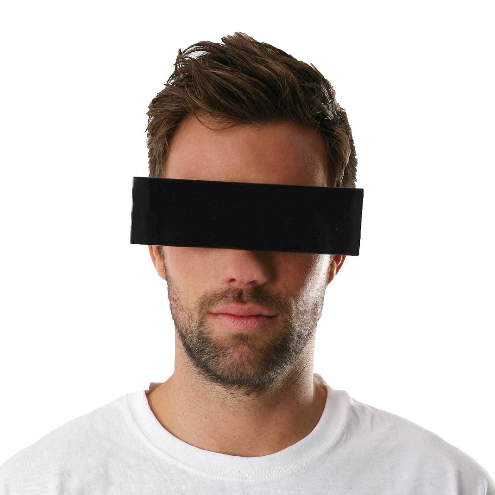 Schwarze Zensurbalken-Brille