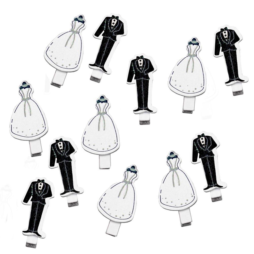 Kleine Wäscheklammern aus Holz mit Brautpaar
