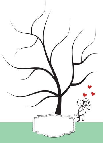 Fingerabdruck-Hochzeitsbaum mit Brautpaar