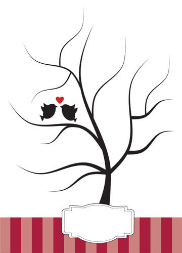 Hochzeit Fingerabdruck-Baum - Vögel - Rot
