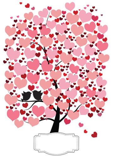 Hochzeitsbaum-Gästebuch mit Herzen - Rot