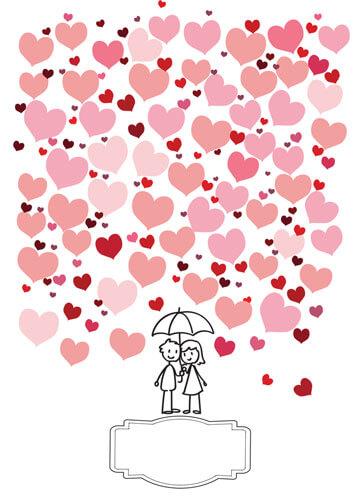 Hochzeit-Gästebuch Poster - Brautpaar mit Regenschirm