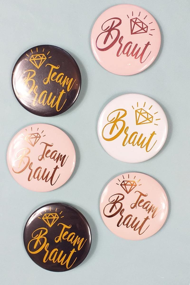 Moderne Damen JGA-Buttons im Gold-Design