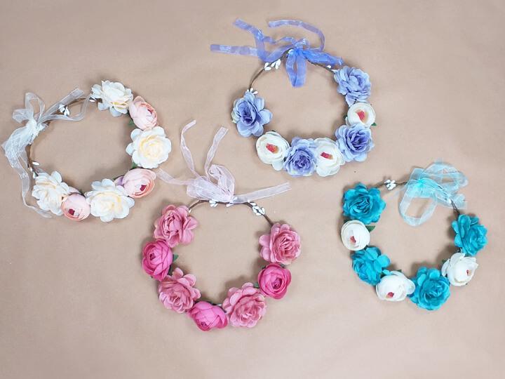 Junggesellinnenabschied-Blumenkränze - Kopfschmuck für Braut und Team