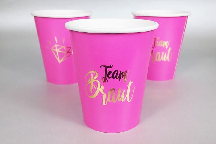 Pinkfarbene Team Braut Becher für den Junggesellenabschied