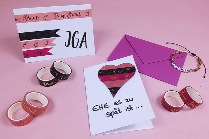 JGA Einladungskarten mit Washi Tape selber basteln