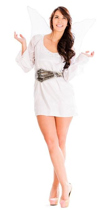 Braut in weißem Engels-Kostüm