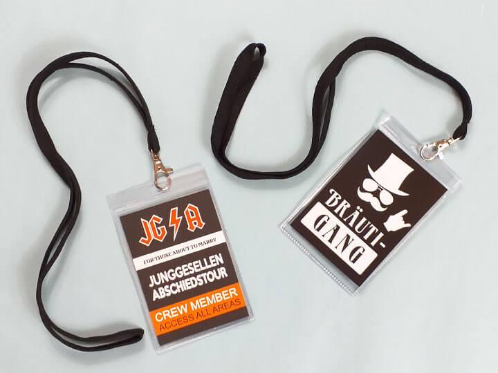 JGA-Ausweise für Männer im Backstage-Pass-Stil