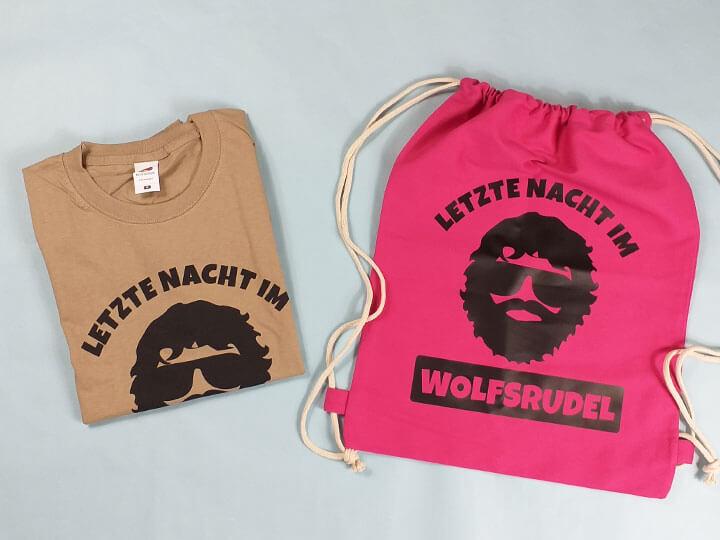 JGA-Hangover-Shirt und Beutel mit Wolfsrudel-Alan-Motiv