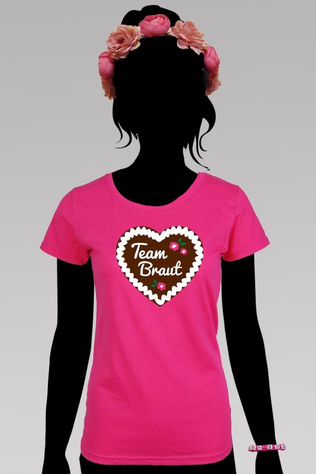 Pinkfarbenes Team Braut Shirt mit Lebkuchenherz - Junggesellinnenabschied