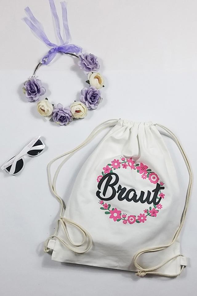 JGA Braut-Accessoires in Weiss - Beutel mit Blumenkranz und Sonnenbrille