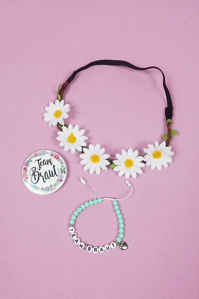 JGA Damen-Zubehoer im Blumen-Design - Button und Haarband