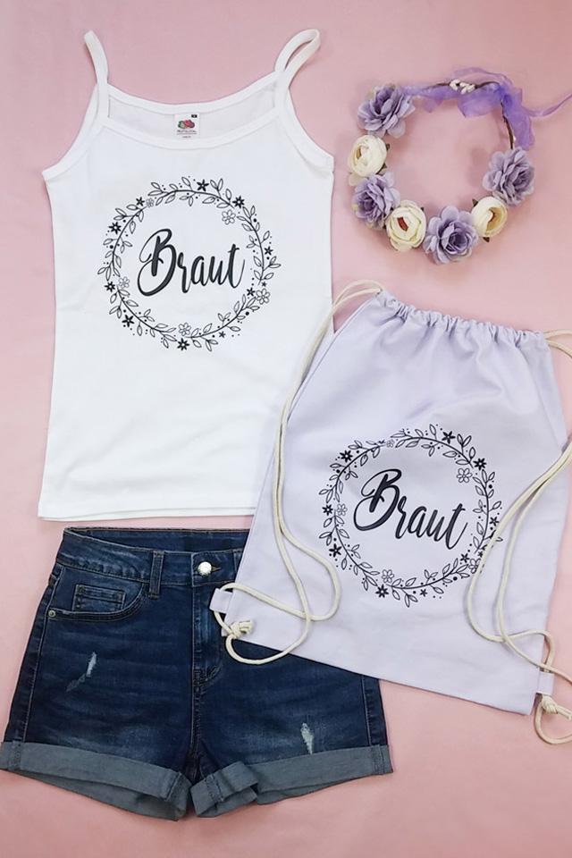JGA Braut Outfit mit Blumenkranz-Motiv - Top mit Beutel und Kopfschmuck