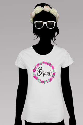 Weisses JGA Braut-Outfit im Blumen-Design - Shirt und Blumenkranz
