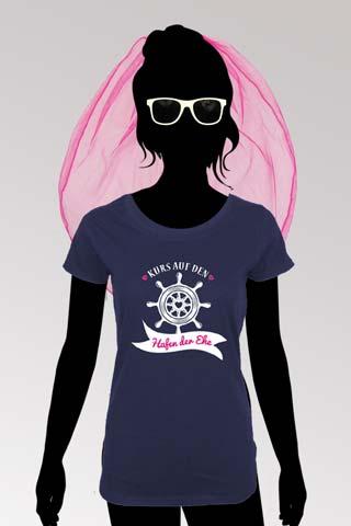 Hafen der Ehe T-Shirt mit JGA Schleier und Brille