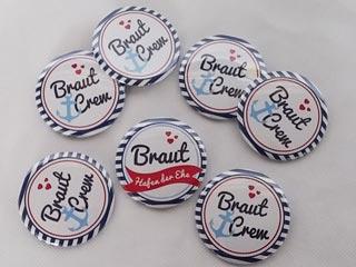 Junggesellenabschied - Buttons mit Braut Crew-Motiv
