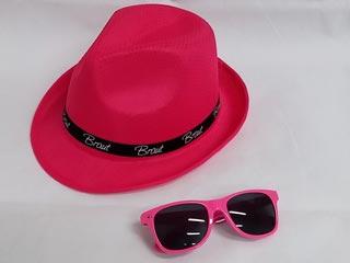 Junggesellenabschied - Braut-Hut und Sonnenbrille in Pink