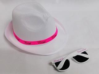 Junggesellinnenabschied - Braut-Hut und Sonnenbrille in Weiss