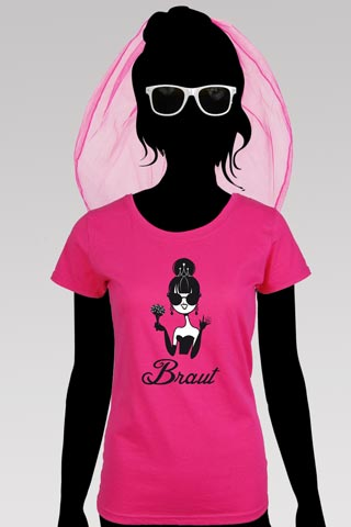 Junggesellinnenabschied - Pinkfarbenes Braut-Kostüm mit Dolly-Motiv
