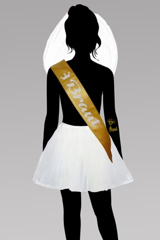 Junggesellinnenabschied - Braut-Kostüm in Gold und Weiss