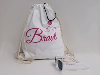 Junggesellenabschied - Braut-Turnbeutel und Sonnenbrille in Weiss