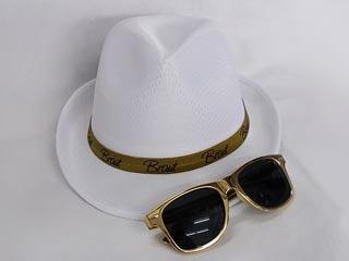 JGA Braut-Accessoires - Gold - Hut und Sonnenbrille