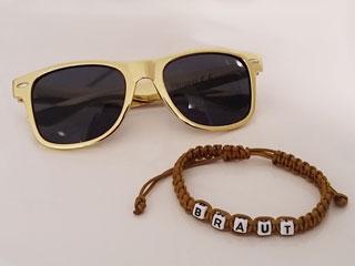 JGA Braut-Armband und Sonnenbrille in Gold